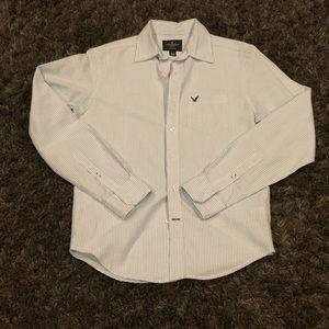 American Eagle Mens Light Blue/White Striped Shirt